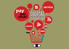 Digital marknadsföringsbegrepp Arkivbild