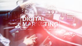 Digital marknadsföringsbegrepp på bakgrund för dubbel exponering arkivfoto