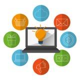 Digital marknadsföringsdesign stock illustrationer