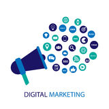 Digital marknadsföringsillustration med megafonen Plan design Arkivbild