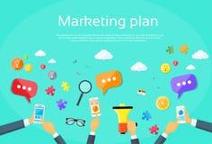 Digital marknadsföringsplan idérika Team Flat Vector Arkivbild
