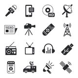 Digital mass media objects color simple flat. Icon set collection, isolated royalty free illustration