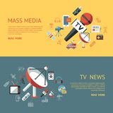 Digital mass media objects color simple flat. Icon set collection, isolated infographics royalty free illustration