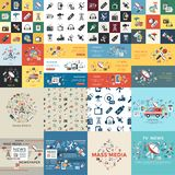 Digital mass media objects color simple flat. Icon set collection, isolated stock illustration