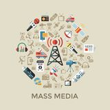 Digital mass media objects color simple flat. Icon set collection, isolated vector illustration