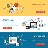 Digital mass media objects color simple flat. Icon set collection, isolated infographics vector illustration