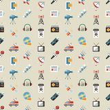 Digital mass media objects color simple flat. Icon set collection, isolated seamless pattern vector illustration
