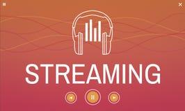 Digital massmediamusik som strömmar ljudsignal fritid vektor illustrationer