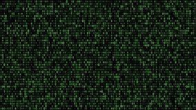 Digital matrix binary flow green stock video