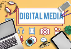 Digital Media Social Network Icons Concept Stock Images