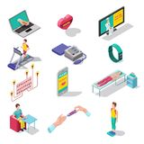 Digital Medical Heart Care Isometric Set. With online consultation gadgets devices weight blood pressure control sport training  vector illustration Royalty Free Stock Photo