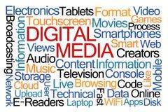 Digital-Medien-Wort-Wolke Stockbilder