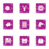 Digital merit icons set, grunge style. Digital merit icons set. Grunge set of 9 digital merit vector icons for web isolated on white background Stock Photo