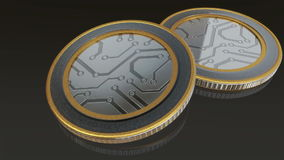 Digital metal coins. The digital currency coin of peer-to-peer for capital transaction stock video