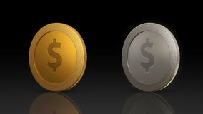 Digital metal coins mix together black. The digital currency coin of peer-to-peer for capital transaction stock video