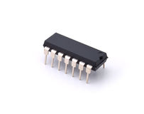 Digital microcircuit. One digital microcircuit on a white background stock images