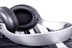 Digital midi keyboard and headphones Royalty Free Stock Images