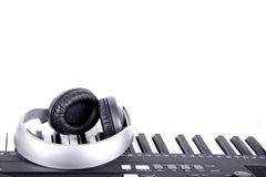 Digital midi keyboard and headphones Royalty Free Stock Image