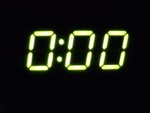 Digital midnight. The microwave clock glowing fluorescent green Stock Photos