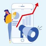 Digital, milieu social lançant l'illustration sur le marché plate illustration de vecteur