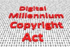 Digital millennium copyright act. In the form of binary code, 3D illustration Stock Photography