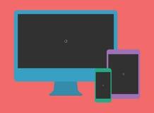 Digital Minimalist Flat Design Template Monitor Smartphone Tablet Stock Photos
