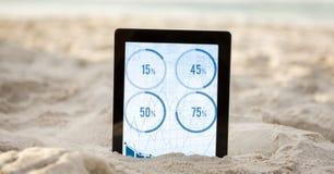 Digital minnestavla i sand som visar data för fyra procentsats Arkivfoto