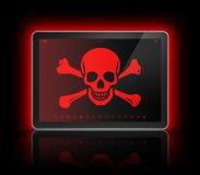 Digital minnestavla med ett piratkopierasymbol på skärmen Isolerat på framförd white Royaltyfri Foto