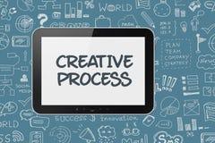 Digital minnestavla med idékläckningprocessbakgrund Arkivfoto