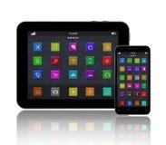 Digital minnestavla, smart telefon och Apps stock illustrationer