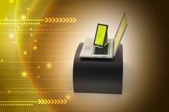 Digital minnestavladator och bärbar dator Arkivfoton