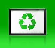 Digital minnestavlaPC med ett återvinningsymbol på skärmen ekologiskt vektor illustrationer
