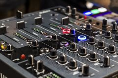 Digital mixer sliders used for adjust audio level royalty free stock image