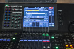 Digital mixing console. Front view of a mixing console Stock Photography
