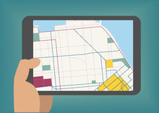 Digital mobile maps concept as illustration with hand holding tablet stock illustration