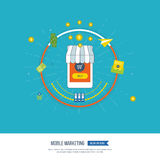 Digital and mobile marketing concept. Social network.  Online shopping Royalty Free Stock Photos