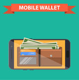 Digital mobile wallet. Icon. smartphone screen with wallet and credit cards on screen. Internet banking concept. wireless money transfer. vector illustration in Stock Image