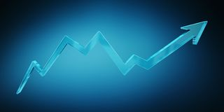 Digital modern blue arrow 3D rendering Royalty Free Stock Photos
