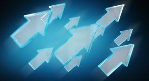 Digital modern blue arrow 3D rendering Stock Photos