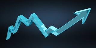 Digital modern blue arrow 3D rendering. Digital modern blue arrow on blue background 3D rendering Royalty Free Stock Image