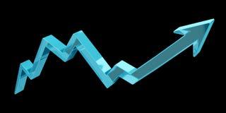 Digital modern blue arrow 3D rendering. Digital modern blue arrow on black background 3D rendering Stock Photography