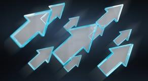 Digital modern blue arrow 3D rendering Stock Images