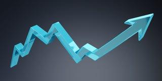 Digital modern blue arrow 3D rendering. Digital modern blue arrow on grey background 3D rendering Royalty Free Stock Photo