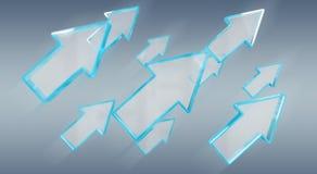 Digital modern blue arrow 3D rendering. Digital modern blue arrow on grey background 3D rendering Stock Image