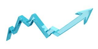 Digital modern blue arrow 3D rendering Royalty Free Stock Photo