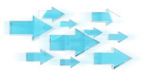 Digital modern blue arrow 3D rendering. Digital modern blue arrow on white background 3D rendering Royalty Free Stock Image