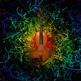 Violin on abstract background. Digital modern composition. Violin on abstract background stock illustration