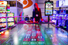 Digital modern roulette table. Sofia, Bulgaria - November 24, 2016: Digital modern colouful roulette table at a casino equipment exhibition. The new gambling Royalty Free Stock Images