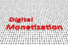 Digital Monetization. In the form of binary code, 3D illustration Royalty Free Stock Photos