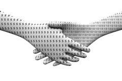 Digital monetization handshake. Handshake between money and binary is digital monetization Royalty Free Stock Image